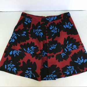J Crew A line floral skirt size 6 red